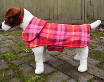 Red Pink and Brown Plaid Fleece Dog Coat- Small- 12 to 14 Inch Back Length