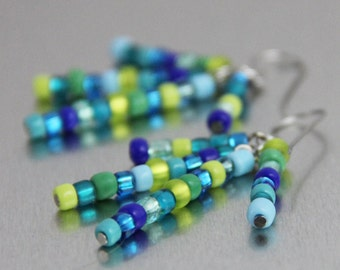 Confetti Lines - Royal Blue Turquoise Kelly Green Lime Teal Beaded Dangle Earrings Fun Playful Casual Bright Multi Color