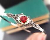 Demeter--Vintage rose glass cab, aged sterling silver brass filigree  headband