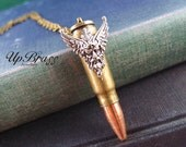 Astraeus God of the Four Winds---Vintage large empty bullet,Recycled empty bullet necklace