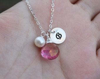 Personalized necklace,initial charm,hand stamp charm,Bridesmaid gifts,Wedding Jewelry,Custom birthstone,
