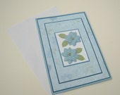 Blue Floral Customizable Greeting Card Blank Inside- You Choose Sentiment on Front