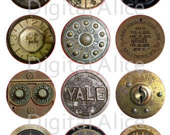 ANTIQUE SAFE DIALS Craft Circles - Steampunk Safe Locks - Instant Download Digital Printable  -Bottlecaps Collage Sheet 4 sizes