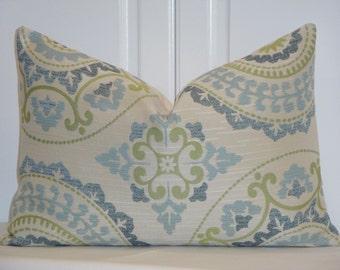 Decorative Pillow Cover - Suzani - Spa Blue - Green - Accent Pillow
