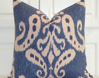 Decorative Pillow Cover - IKAT - Throw Pillow - Accent Pillow - Blue - Natural - Toss Pillow