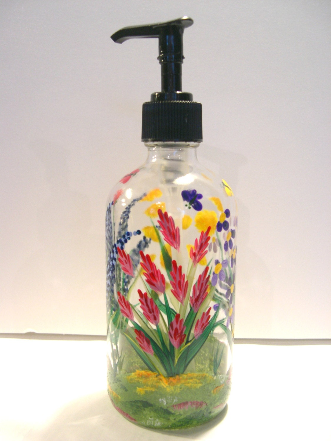 Hand Painted Glass Liquid Soap Lotion Dispenser Bottle Hand