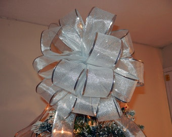 Large Sheer Shimmery Silver Ribbon  Christmas Tree topper bow