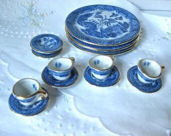 Miniature China Blue and White Dish Set / Asian Design