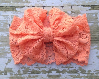Coral Lace Messy Bow Head Wrap