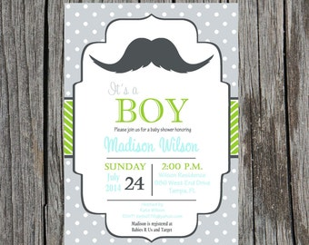 Printed Little Man Baby Shower Invitation, baby boy, mustache baby shower, little man, printed invitations