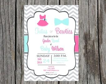 Printed Gender Reveal Invitations, tutus or bowties invitation, gender reveal party invitation, printed set