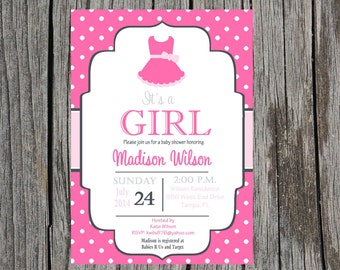 printed ballet baby shower invitation baby girl girl shower tutu baby shower invitation