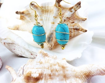 Turquoise Blue Howlite Earrings