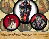 "Gruss Vom Krampus- The Christmas Demon- 1"" Circles Digital Collage Sheet"