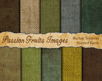 Stained Earth Burlap Digital Paper Pack for Digital Scrapbooking or collage-  10 Sheets- Instant Download