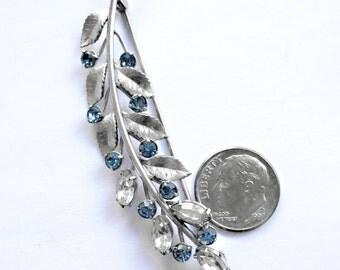 "KREMENTZ  Silver Tone Swarovski Blue Crystals Rhinestone  Pin BROOCH  2 13/16"""