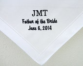 Men's wedding handkerchief personalized with Monogram, Title and wedding date
