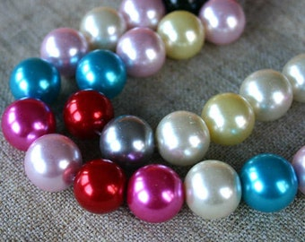 56pcs 14mm Bead Glass Pearl Round Mixed Colors 2x16 Inches Strand