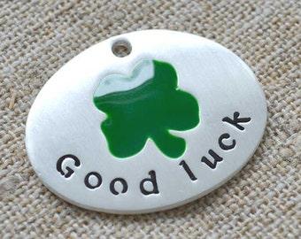 2 St Patrick Clover Pendant Silver Pewter Enamel Good Luck Lucky