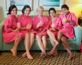 Bridesmaid Robes Set of 5 Monogrammed Waffle Weave Robes Wedding Party Robes Bridesmaids Robes Gifts Bridal Gift Monogram Front embroidery