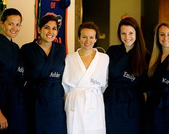 5 Bridesmaids Gifts Spa Robes Monogrammed Personalized front embroidery is included