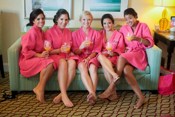 5 Bridesmaids Robes Personalized Wedding Shower