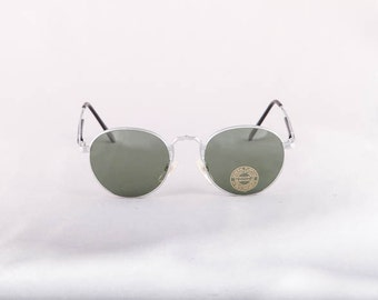 Vintage 80s 90s SILVER Steal Round Metal Circle Sunglasses Dead Stock Deadstock