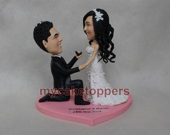 propose wedding cake topper, Custom wedding Cake toppers, bride and groom, will you merry me, merry, propose