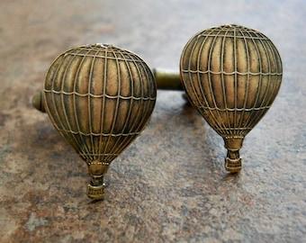 Hot Air Balloon Cufflinks in Brass, Jules Verne Around the World in 80 Days Brass Cufflinks