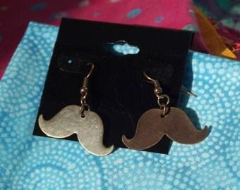 Brass Mustache Earrings