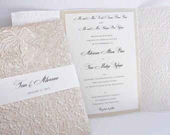 Wedding Invitation, Wedding Invite, Unique Invitation, Indian Invitation, Embossed Invitation, Floral Invitation, SARAHIE - 2