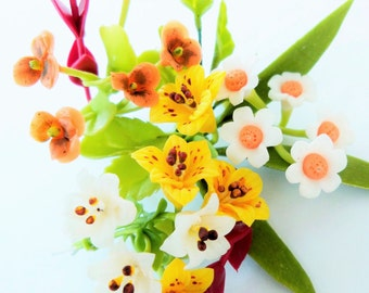 Miniature Polymer Clay Flowers Bouquet, Camomile, Lily and Pansy, Supplies for Dollhouse and Handmade Gifts 1 Bunch