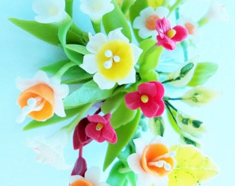 Miniature Polymer Clay Flowers Bouquet, Camomile, Daffodil and Pansy, Supplies for Dollhouse and Handmade Gifts 1 Bunch