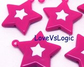 6 Huge Acrylic Star Charms. Fuchsia With White Star.