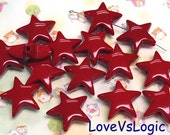 10 Huge Puff Star Acrylic Charms. Dark Red.25mm