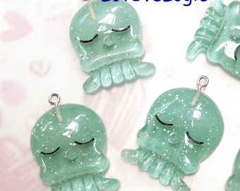 4 Glitter Baby Octopus Lucite Charms. Glitter Blue Tone