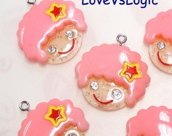 4 Baby Girl Glitter Lucite Charms.Pink Curly Hair.Cute