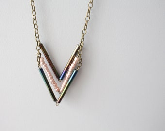 Pink black tribal necklace chevron