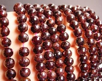 Garnet  - 9mm faceted barrel round beads -1 full strand - 51 beads - BGB1