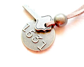 Antique bronze key with 1531 tag necklace gift for him-Dog tag necklace-Key necklace-Mens necklace-Mens jewelry-Christmas gift-Birthday Gift