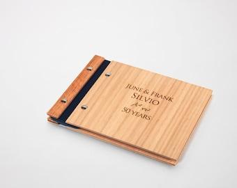 anniversary guest book album wood engagement gift modern rustic engrave // petite tasmanian oak anniversary
