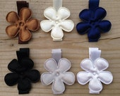 Satin Flower Hair Clips Gift Set - Neutrals - No Slip Grips - Great Deal