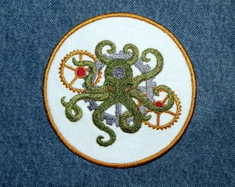 """Steampunk Octopus Iron on Patch- 4.1"""""""