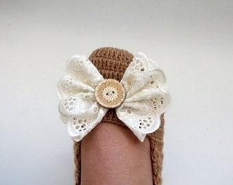 Camel Crochet booties with bow-Adult Size-Camel Crochet Slippers with Lace Bow
