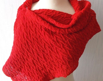 Cotton Scarf Linen Wrap Shawl Knitted Natural Summer Textured Wrap in Red