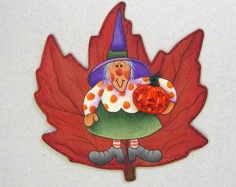 Halloween Folk Art Witch, Hand Painted on Maple Leaf Magnet, Tole Painted Halloween Witch on Maple Leaf Magnet, Orange Jack-o-Lantern,Magnet