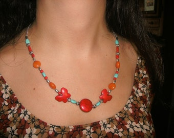 Bright Butterflies and Turquoise Necklace
