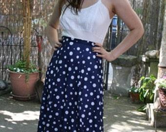 Vintage 50s Circle Skirt // Navy Polka Dot Circle Skirt, M-L