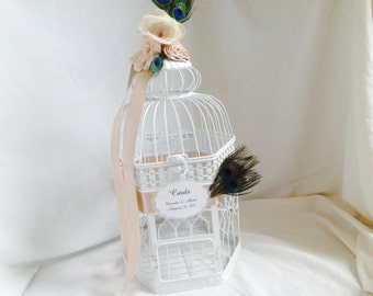 Elegant Birdcage Wedding Card Holder - Peacock Feather Decor Theme