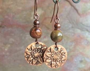 Boho Copper Earrings, Copper Flower Earrings